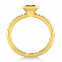 Emerald-Cut Bezel-Set Peridot Solitaire Ring 14k Yellow Gold (1.00 ctw)