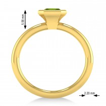 Emerald-Cut Bezel-Set Peridot Solitaire Ring 14k Yellow Gold (1.00 ctw)