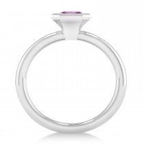 Emerald-Cut Bezel-Set Pink Sapphire Solitaire Ring 14k White Gold (1.00 ctw)