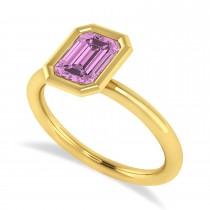 Emerald-Cut Bezel-Set Pink Sapphire Solitaire Ring 14k Yellow Gold (1.00 ctw)