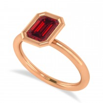 Emerald-Cut Bezel-Set Ruby Solitaire Ring 14k Rose Gold (1.00 ctw)