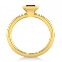 Emerald-Cut Bezel-Set Ruby Solitaire Ring 14k Yellow Gold (1.00 ctw)