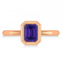 Emerald-Cut Bezel-Set Tanzanite Solitaire Ring 14k Rose Gold (1.00 ctw)