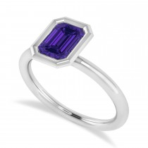 Emerald-Cut Bezel-Set Tanzanite Solitaire Ring 14k White Gold (1.00 ctw)