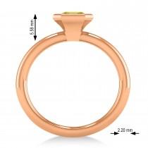 Emerald-Cut Bezel-Set Yellow Diamond Solitaire Ring 14k Rose Gold (1.00 ctw)