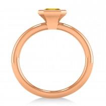 Emerald-Cut Bezel-Set Yellow Sapphire Solitaire Ring 14k Rose Gold (1.00 ctw)