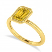 Emerald-Cut Bezel-Set Yellow Sapphire Solitaire Ring 14k Yellow Gold (1.00 ctw)