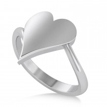 Geometric Heart-Shape Ring 14k White Gold