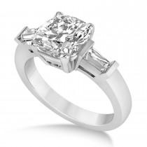 Diamond Cushion Baguette Air Line Ring 14k White Gold (2.44ct)