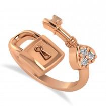 Diamond Key And Lock Ring Band 14k Rose Gold (0.09ct)