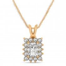 Emerald Shape Diamond Pendant Necklace 14k Rose Gold (3.00ct)