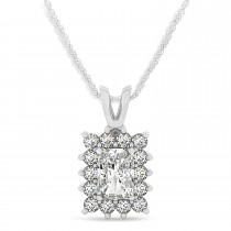 Emerald Shape Diamond Pendant Necklace 14k White Gold (3.00ct)