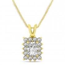 Emerald Shape Diamond Pendant Necklace 14k Yellow Gold (3.00ct)