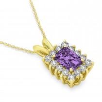 Emerald Shape Amethyst & Diamond Pendant Necklace 14k Yellow Gold (2.75ct)
