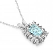 Emerald Shape Aquamarine & Diamond Pendant Necklace 14k White Gold (2.50ct)