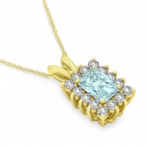 Emerald Shape Aquamarine & Diamond Pendant Necklace 14k Yellow Gold (2.50ct)