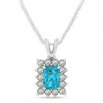 Emerald Shape Blue Diamond & Diamond Pendant Necklace 14k White Gold (3.00ct)