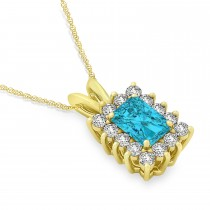 Emerald Shape Blue Diamond & Diamond Pendant Necklace 14k Yellow Gold (3.00ct)