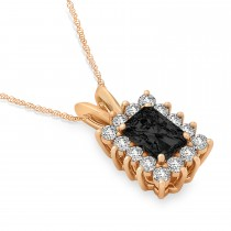 Emerald Shape Black Diamond & Diamond Pendant Necklace 14k Rose Gold (3.00ct)