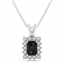 Emerald Shape Black Diamond & Diamond Pendant Necklace 14k White Gold (3.00ct)