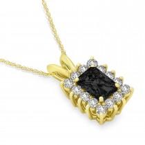 Emerald Shape Black Diamond & Diamond Pendant Necklace 14k Yellow Gold (3.00ct)