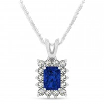 Emerald Shape Blue Sapphire & Diamond Pendant Necklace 14k White Gold (2.80ct)