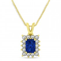 Emerald Shape Blue Sapphire & Diamond Pendant Necklace 14k Yellow Gold (2.80ct)