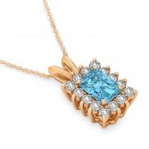 Emerald Shape Blue Topaz & Diamond Pendant Necklace 14k Rose Gold (3.90ct)