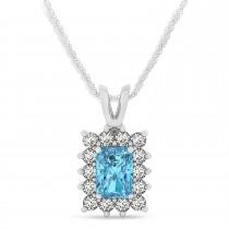 Emerald Shape Blue Topaz & Diamond Pendant Necklace 14k White Gold (3.90ct)