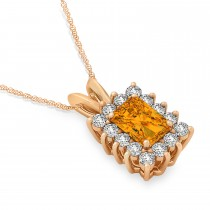 Emerald Shape Citrine & Diamond Pendant Necklace 14k Rose Gold (2.75ct)