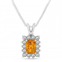 Emerald Shape Citrine & Diamond Pendant Necklace 14k White Gold (2.75ct)