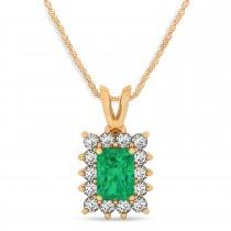 Emerald Shape Emerald & Diamond Pendant Necklace 14k Rose Gold (2.81ct)