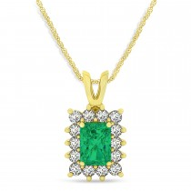 Emerald Shape Emerald & Diamond Pendant Necklace 14k Yellow Gold (2.81ct)
