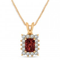Emerald Shape Garnet & Diamond Pendant Necklace 14k Rose Gold (3.00ct)