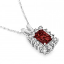 Emerald Shape Garnet & Diamond Pendant Necklace 14k White Gold (3.00ct)