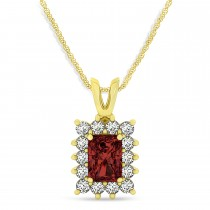 Emerald Shape Garnet & Diamond Pendant Necklace 14k Yellow Gold (3.00ct)