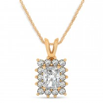 Emerald Shape Moissanite & Diamond Pendant Necklace 14k Rose Gold (3.00ct)