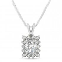 Emerald Shape Moissanite & Diamond Pendant Necklace 14k White Gold (3.00ct)