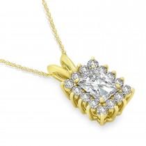 Emerald Shape Moissanite & Diamond Pendant Necklace 14k Yellow Gold (3.00ct)