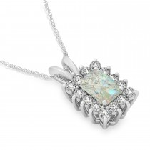 Emerald Shape Opal & Diamond Pendant Necklace 14k White Gold (3.00ct)