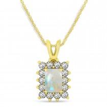 Emerald Shape Opal & Diamond Pendant Necklace 14k Yellow Gold (3.00ct)