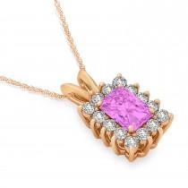 Emerald Shape Pink Sapphire & Diamond Pendant Necklace 14k Rose Gold (2.80ct)