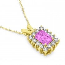 Emerald Shape Pink Sapphire & Diamond Pendant Necklace 14k Yellow Gold (2.80ct)