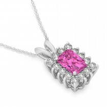 Emerald Shape Pink Topaz & Diamond Pendant Necklace 14k White Gold (3.90ct)