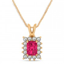 Emerald Shape Ruby & Diamond Pendant Necklace 14k Rose Gold (2.80ct)