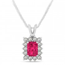 Emerald Shape Ruby & Diamond Pendant Necklace 14k White Gold (2.80ct)