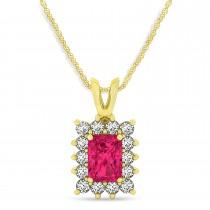 Emerald Shape Ruby & Diamond Pendant Necklace 14k Yellow Gold (2.80ct)