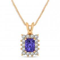 Emerald Shape Tanzanite & Diamond Pendant Necklace 14k Rose Gold (3.00ct)