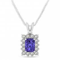 Emerald Shape Tanzanite & Diamond Pendant Necklace 14k White Gold (3.00ct)