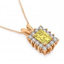 Emerald Shape Yellow Diamond & Diamond Pendant Necklace 14k Rose Gold (3.00ct)